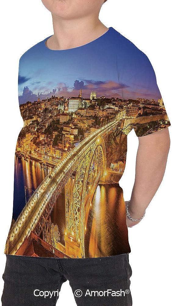 City Original Printed Short Sleeve Shirt Size XS-2XL Big,Porto Dom Luis Bridge a