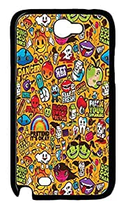 Colorful Sticker Illustrations Protective Hard Plastic Back Fits Cover Case for Samsung Galaxy Note 2 N7100 -1122020