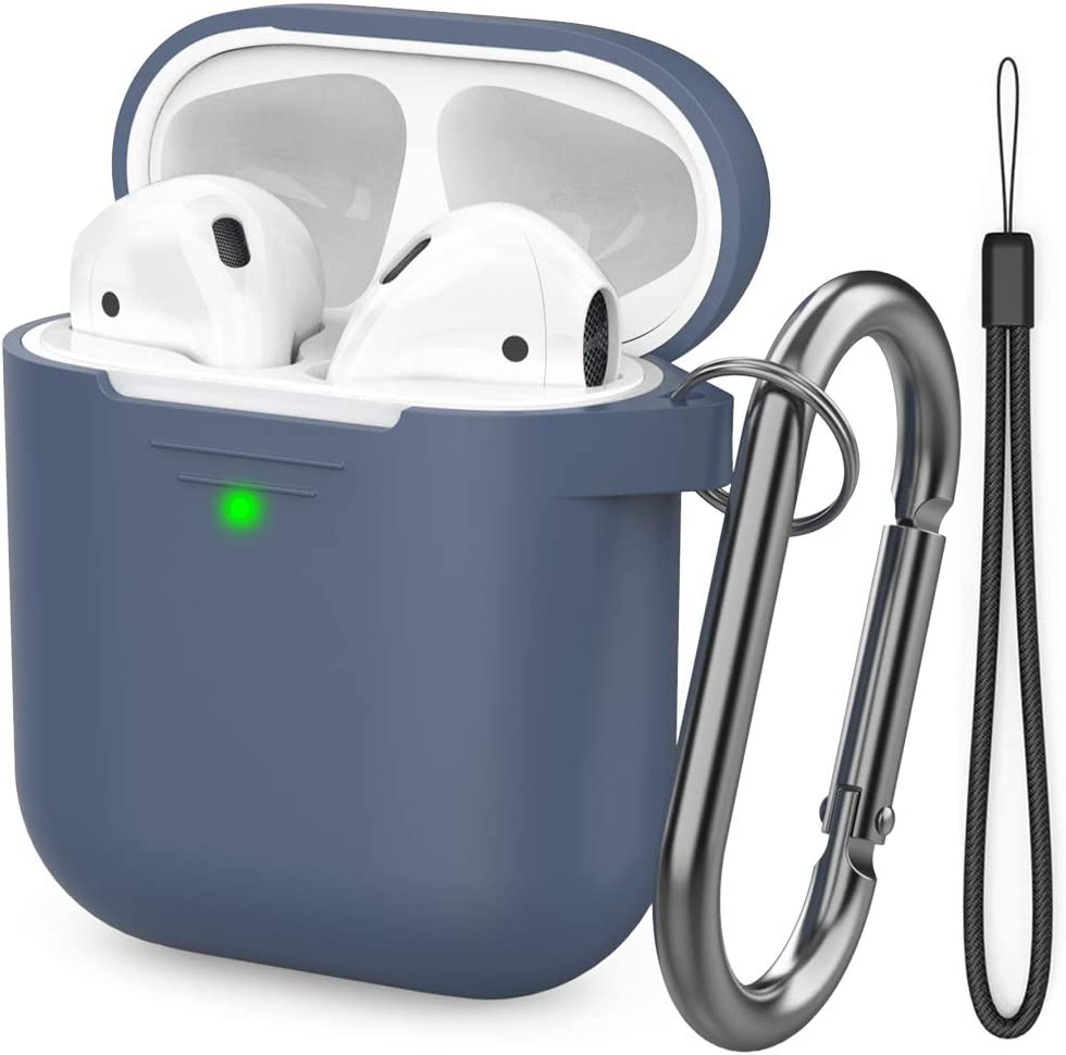AhaStyle AirPods Case Cover [Hand Strap Included] Silicone Protective Cover Skin Compatible with AirPods 2 & 1(Navy Blue)