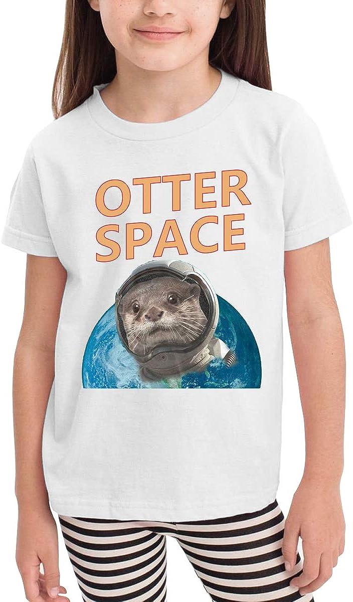 Kids T-Shirt Tops Black Otter Space Unisex Youths Short Sleeve T-Shirt