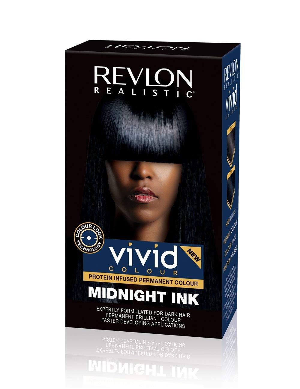 Revlon Realistic Vivid Colour Permanent Dark Hair Dye Color with Colour Lock Technology, Midnight Ink 110ml