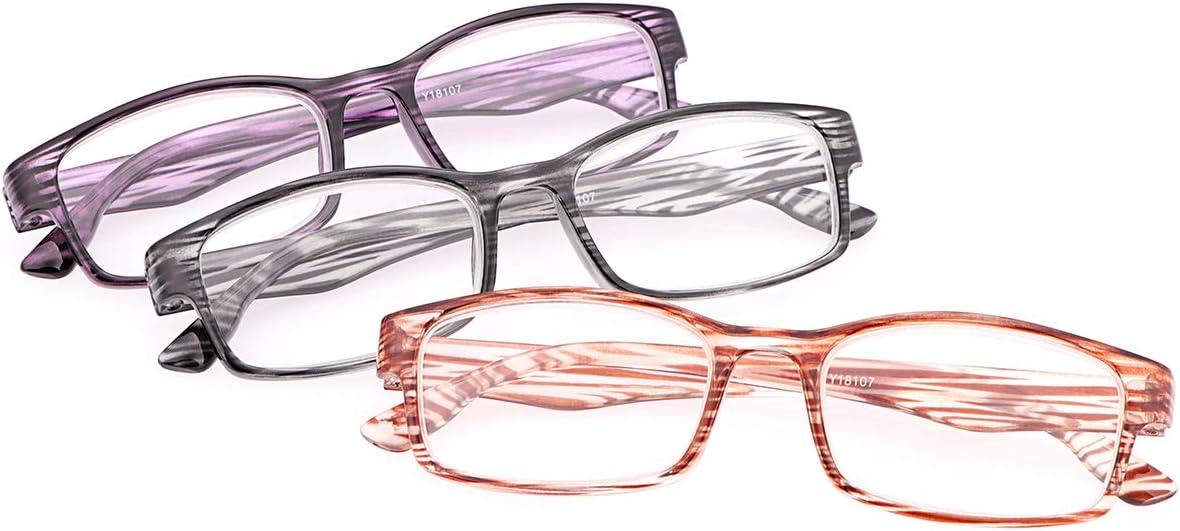 Un Pack de 3 Gafas de Lectura Mujer Hombre Gafas Bloqueo Luz Azul 3 piezas Anti Luz Azul con Protección UV400 Unisex Anteojos Para Lentes de Aumento Leer Ver Cerca Presbicia - Ligeras,Comodas Lectores