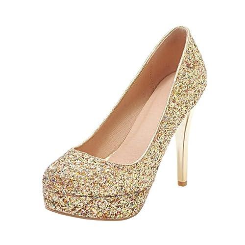 fa7fb99b66be1 Amazon.com | Agodor Women's Platform High Heels Glitter Wedding ...