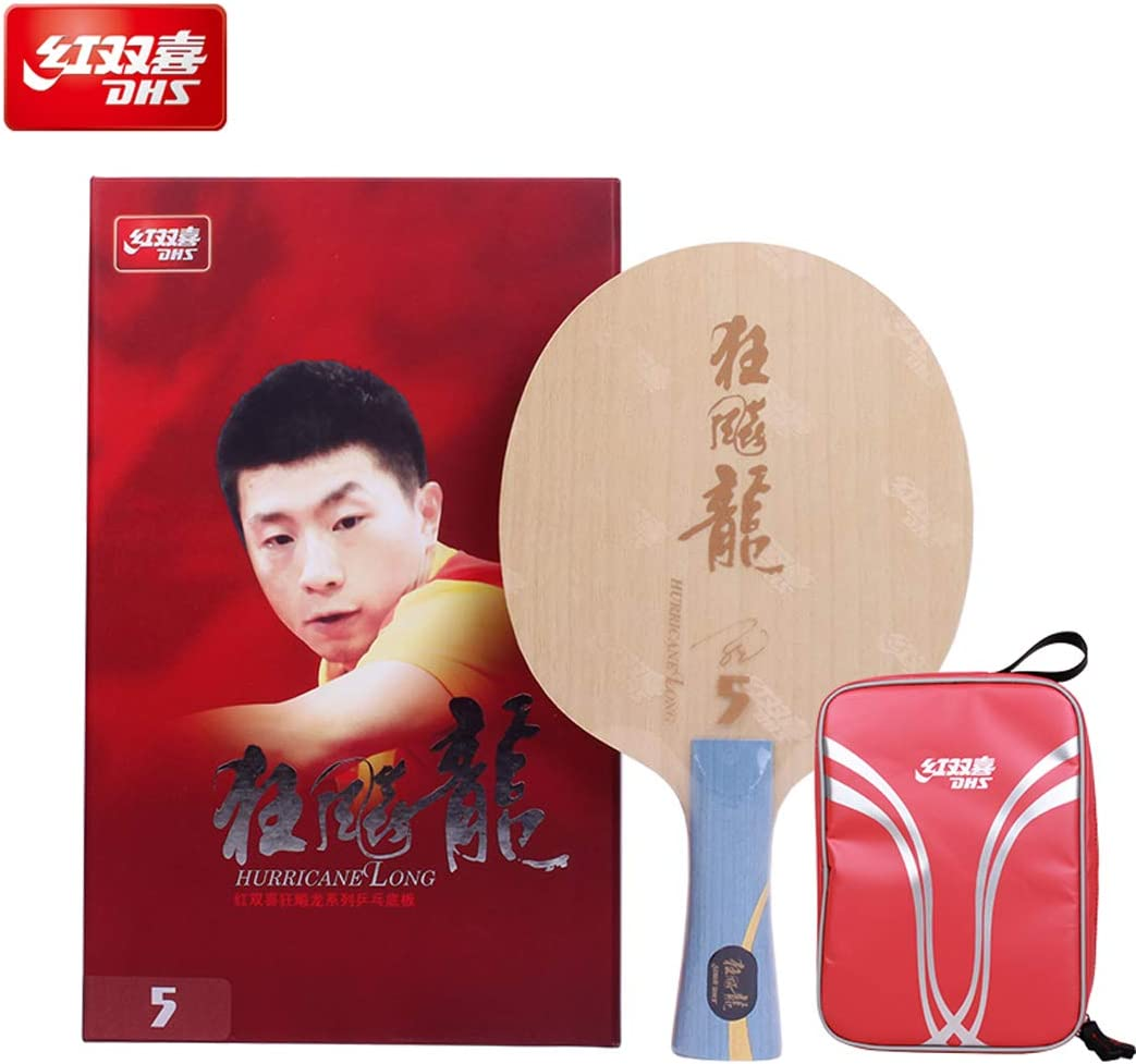 DHS Hurricane Long 5 Racket Blade | with Ma Long Autograph Card | NEO Hurricane 3 Provincial Table Tennis Rubber | Blue and Orange Sponge | Professional Assembled