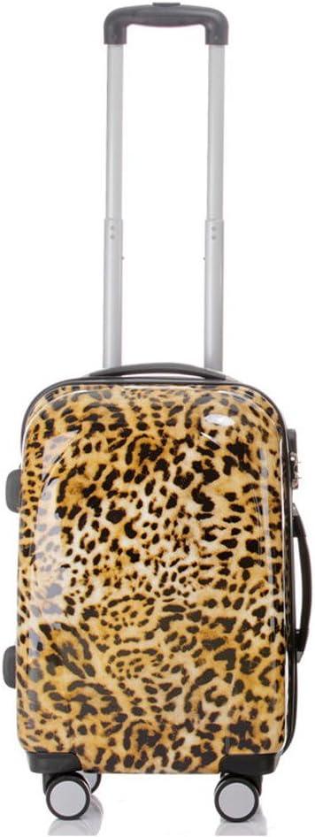 Warenhandel König - Maleta de viaje con plástico ABS policarbonato, rígida y diseño BB Multicolor leopardo 2: 45 Liter - Gr. M