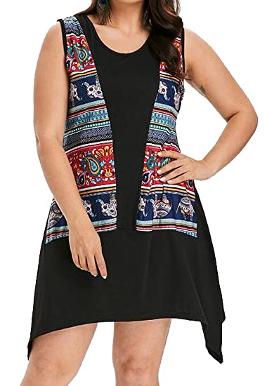 48417b4bc5f Fensajomon Womens African Print Dashiki Sleeveless Plus Size Summer T-Shirt  Top Dress at Amazon Women s Clothing store