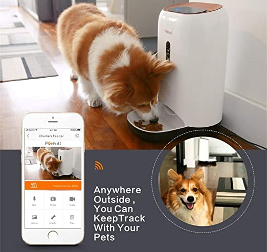 Petfull Smart Auto Pet Feeder with WiFi App Control HD-Camera Infrared for Dog Cat, 5L Large Capacity, Food Dispenser, Portion Control, Time ...