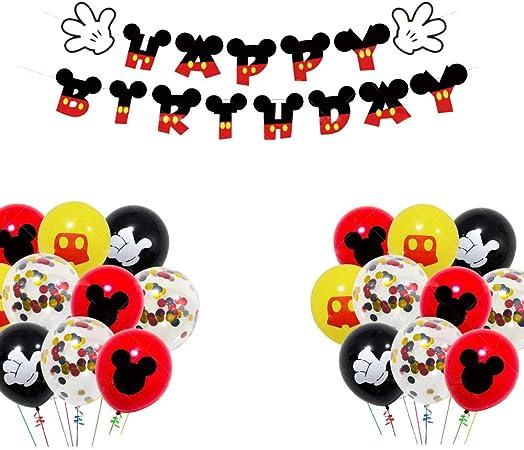 Wents Decorazioni Di Compleanno Di Topolino Minnie Mickey Forniture Per Feste Di Compleanno Di Topolino Includono Banner Palloncini Striscioni Cupcake Per Feste Tema Di Compleanno Amazon It Casa E Cucina