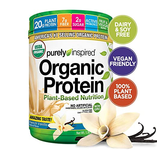 Purely Inspired Organic Protein Shake Powder, 100% Plant Based with Pea & Brown Rice Protein (Non-GMO, Gluten Free, Vegan Friendly), French Vanilla, 1.5lbs best vegan protein powder