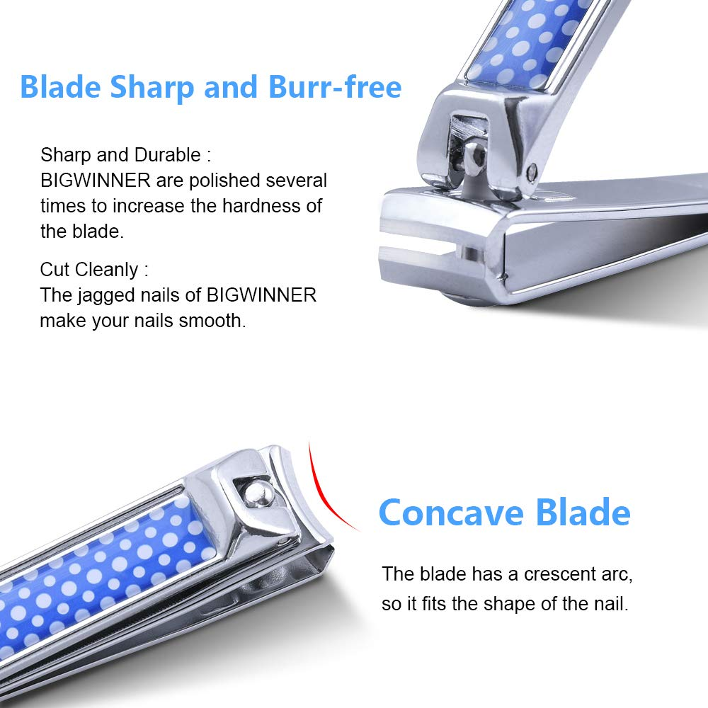 BIGWINNER Nail Clippers, EZ Comfort Grip Nail cutters for thick nails for men, Sharp Stainless Steel Blade Toenail Clippers Set of 2