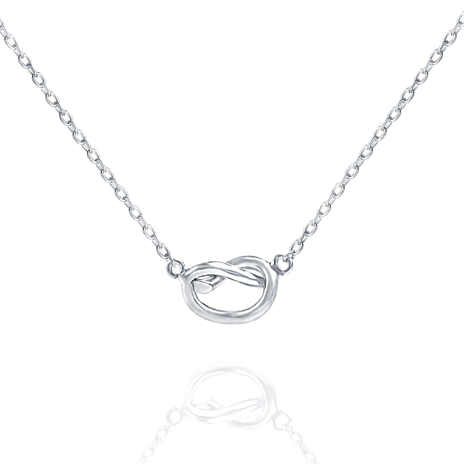PAVOI 14K Yellow Gold Plated Infiity Love Knot Necklace Pendant - White