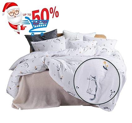 Amazon Com Ughome Soft Duvet Cover Set King Cute Cat Printed