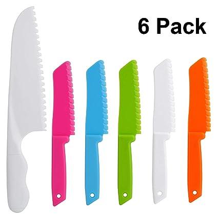 ONUPGO - Juego de cuchillos de cocina (6 piezas, plástico, con bordes de corte serrados, cuchillos de nailon para niños y niños para frutas, pan, ...