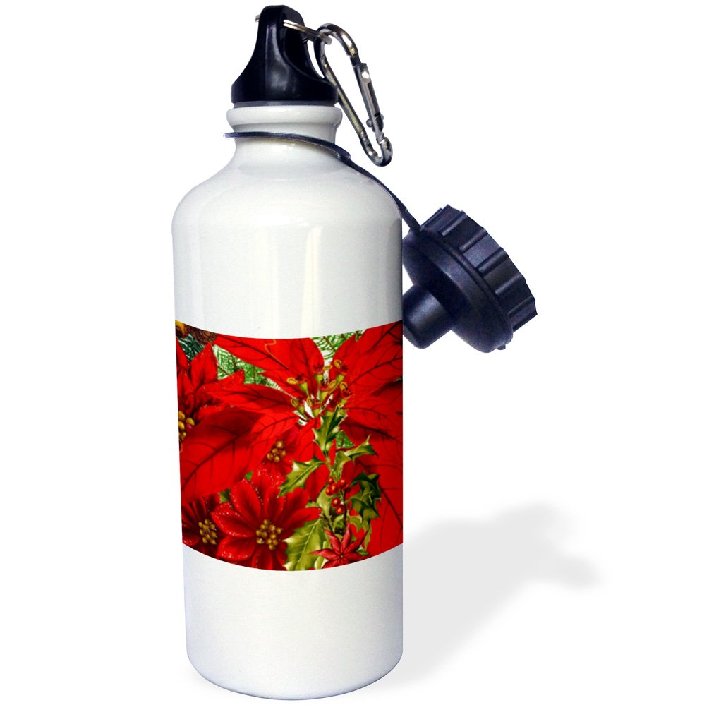 21 oz White 3dRose wb/_79443/_1Christmas Poinsettia print with holly and pine also known as the Star Flower Sports Water Bottle