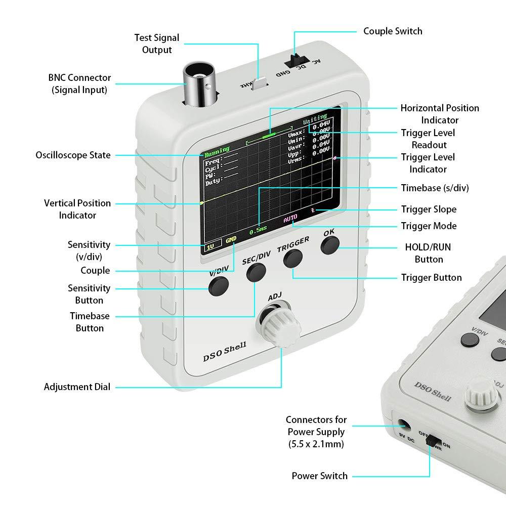 Mini osciloscopio kit de osciloscopio digital con modos de disparo Autom/ático//Normal///Único Con par/ámetro de forma de onda pantalla digital