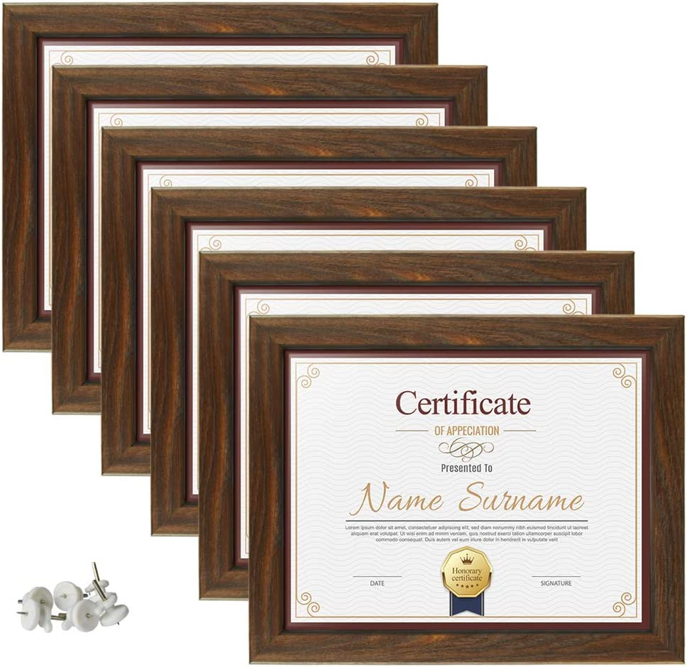 Schliersee 6 Pack 8.5 x 11 Picture Frames, Diploma Certificate Document Frames, 8.5 by 11 Tempered Glass Rustic Brown Frame Set, for Tabletop or Wall