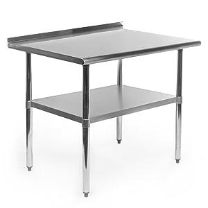 GRIDMANN NSF Stainless Steel Commercial Kitchen Prep & Work Table w/Backsplash - 36 in. x 24 in.