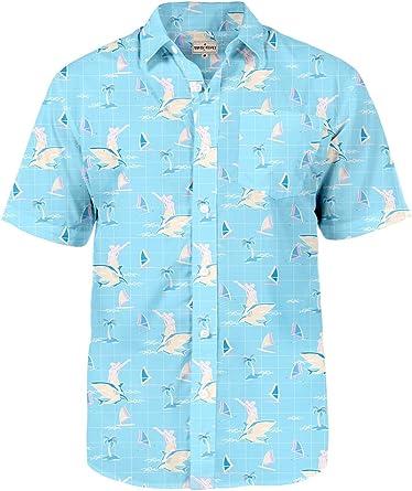 LI-Beauty Hawaiian Shirt for Men Printed Short Sleeve Button Down Beach Spring//Summer Shirt