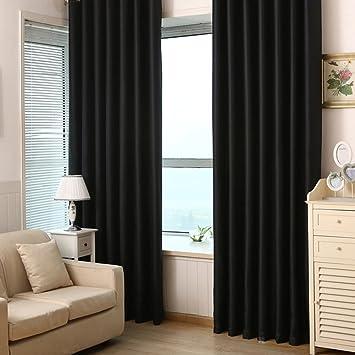 Pueri Rideau Thermique Occultant Porte Fenêtre Draperies Salon Moderne  100*215cm (Noir)