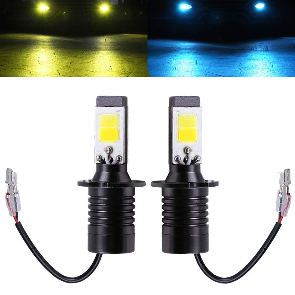 Fog Light Bulb LED Amber Yellow 3000K Ice Blue 8000K Dual Color for Trucks Cars Lamps DRL Lights Kit Replacement Bulbs 12V 30W 2800LM Super Bright COB Chips 1 Year Warranty【1797】 JP H11 H8 H16