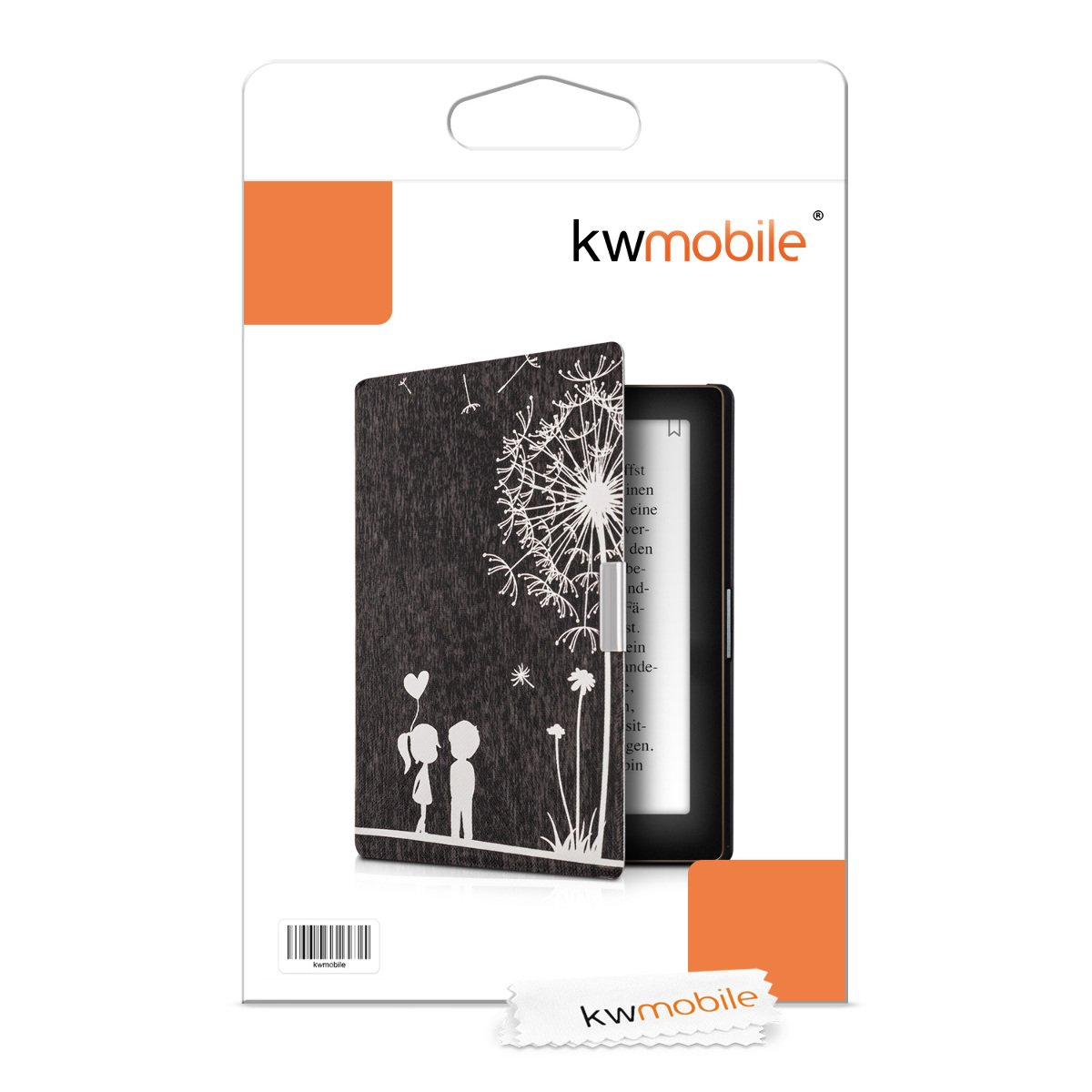 kwmobile Case for Kobo Aura Edition 1 - Book Style PU Leather Protective e-Reader Cover Folio Case - white black by kwmobile (Image #8)