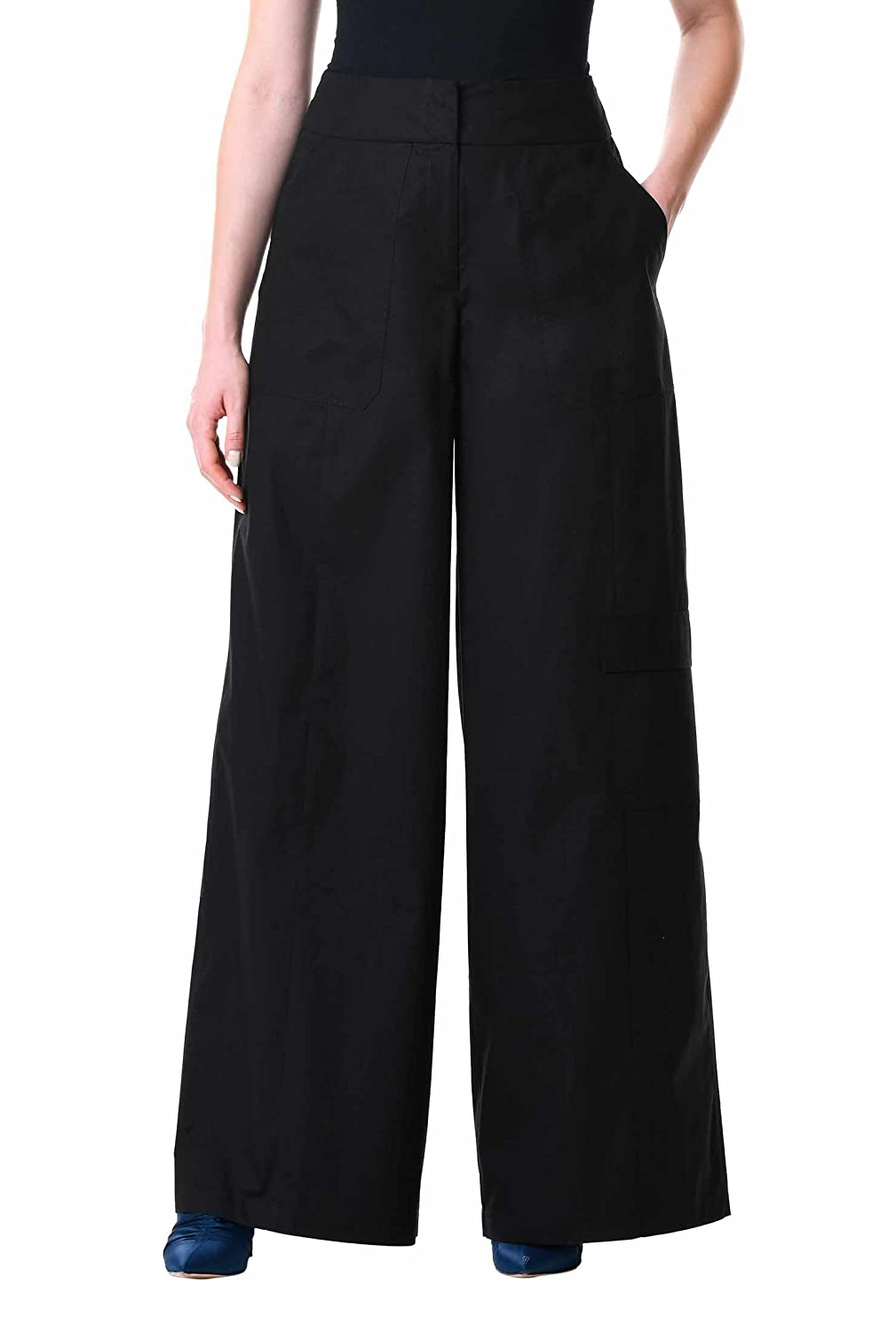 Vintage High Waisted Trousers, Sailor Pants, Jeans eShakti Womens Cotton poplin Palazzo Pants $64.95 AT vintagedancer.com