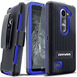 COVRWARE® LG Leon LTE C40 / LG Tribute 2 [Viper Series] Heavy Duty Dual Layer Holster Case Kickstand and Locking Belt Swivel Clip [Screen Protector] For LG Leon, Power, Destiny, Sunset, Risio - Blue