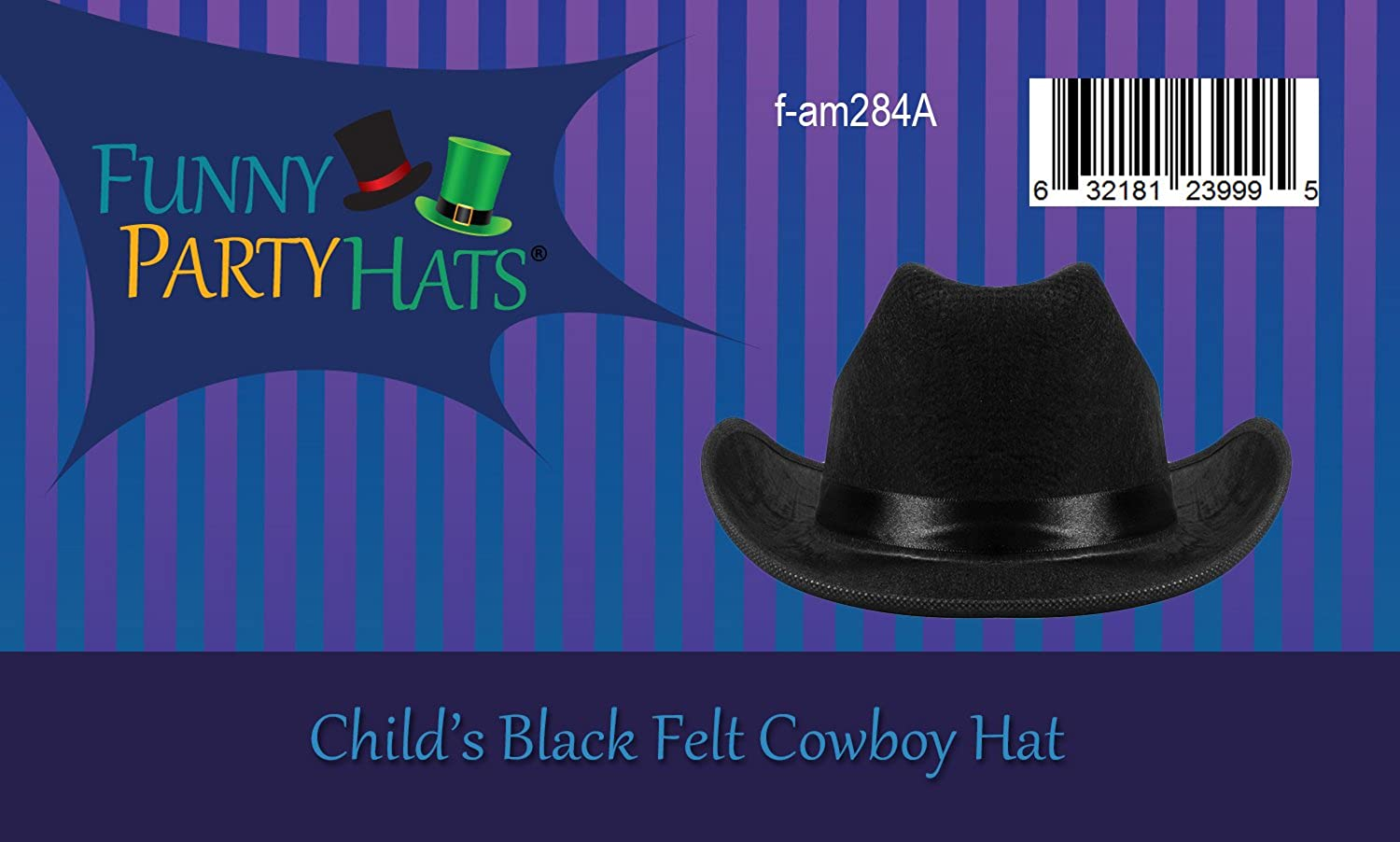 4dbb6c07a78 Amazon.com  Cowboy Hat - Black Cowboy Hat for Kids - Western Cowboy Hat -  Rodeo Costume Hat by Funny Party Hats  Clothing
