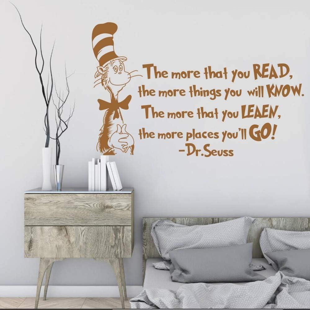 Etiqueta de la pared Más que lees Decoración de la pared Gato en el sombrero Habitación de los niños Etiqueta de la decoración Poster Mural removible 57 * 91 cm: Amazon.es: Bricolaje