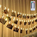 Led Photo Clip Remote String Lights, Magnolian 20 LEDs Battery Operated Fairy String Lights with 8 Modes Choice, 7.2 Ft, Warm White