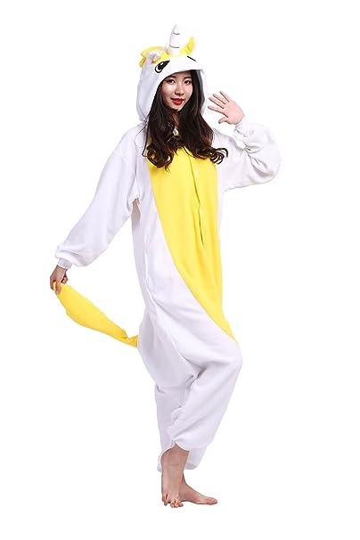 Hstyle Adulto Unicornio Mamelucos Pijamas Fiesta De Halloween Disfraces De Cosplay Disfraces Trajes De Color Amarillo