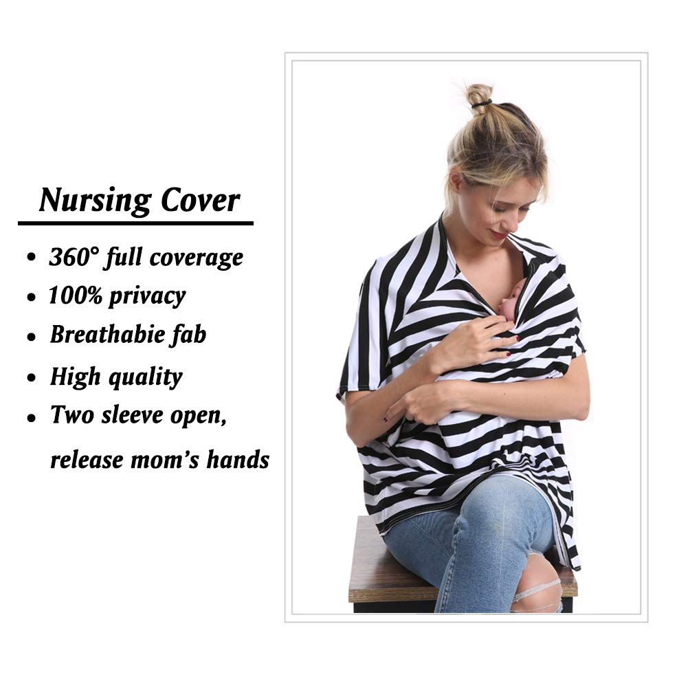 Bamboo Nursing Breastfeeding Cover Car Seat Canopy for Infant Baby Extremely Stretchy Multi Use Nursing Cover Up Poncho Tops Clothes Soft Jersey All-in-one Convertible Carseat Stroller Cover