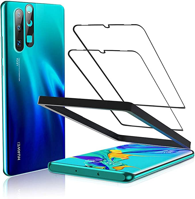 Beyeah Pack Of 2 Tempered Glass Screen Protectors For Huawei P30 Pro Full Coverage Installation Tool Anti Oil Anti Bubble Black