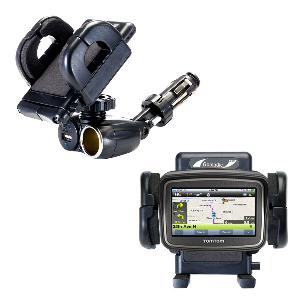 Dual Car Cigarette Lighter Charger Mount and Holder for the TomTom Rider Features 12V Adapter and Charging USB Port