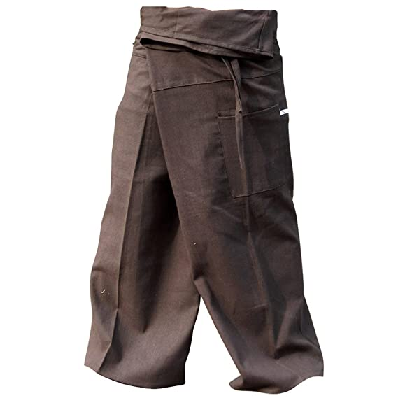 81279934fe597 Thai Fisherman Pants Yoga Trousers FREE SIZE Plus Size Cotton Taupe Stripe  by kittiyashop  Amazon.ca  Clothing   Accessories