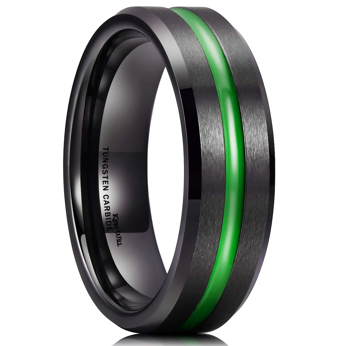 King Will Mens 7mm Green Plated Grooved Finish Tungsten Carbide Ring Green Beveled Edge Wedding Band 9.6