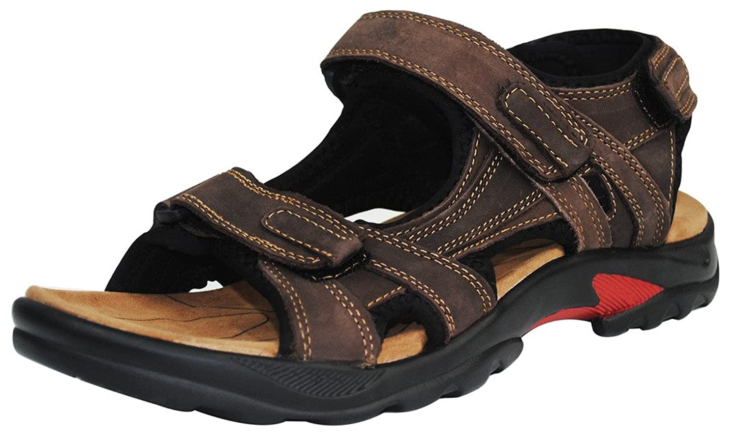 4How Men's Casual Sandals Leather Shoes Outdoor