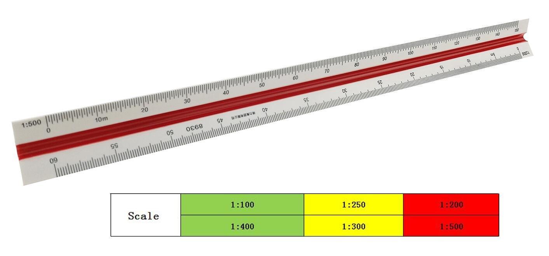 30 cm/30, 5 cm plastica multifunzionale triangolare scala metrica righello con scanalature per architetto codificati Charting ENGINEERING design Winterworm