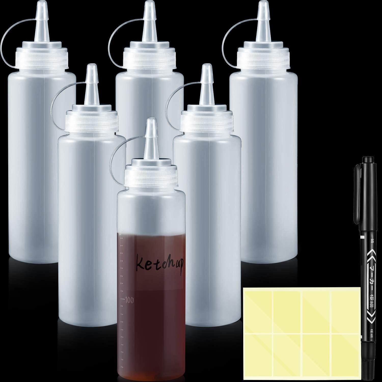 6 Pezzi 8 oz Bottiglia di Salsa Bianca Spremuta Trasparente Spremere le Bottiglie di Condimento con Cappuccio Dispenser di Condimento con 1 Pennarello Nero e 16 Adesivo Etichetta Trasparente