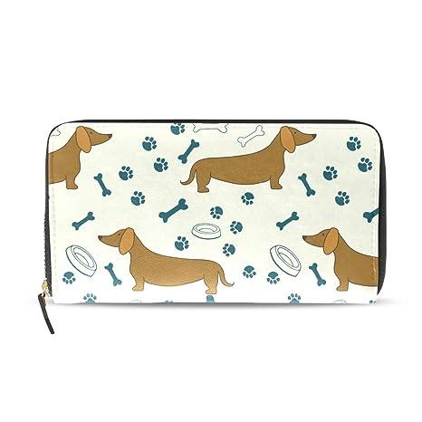 COOSUN Dachshunds perro de dibujos animados patrón de cuero de la PU de gran capacidad titular