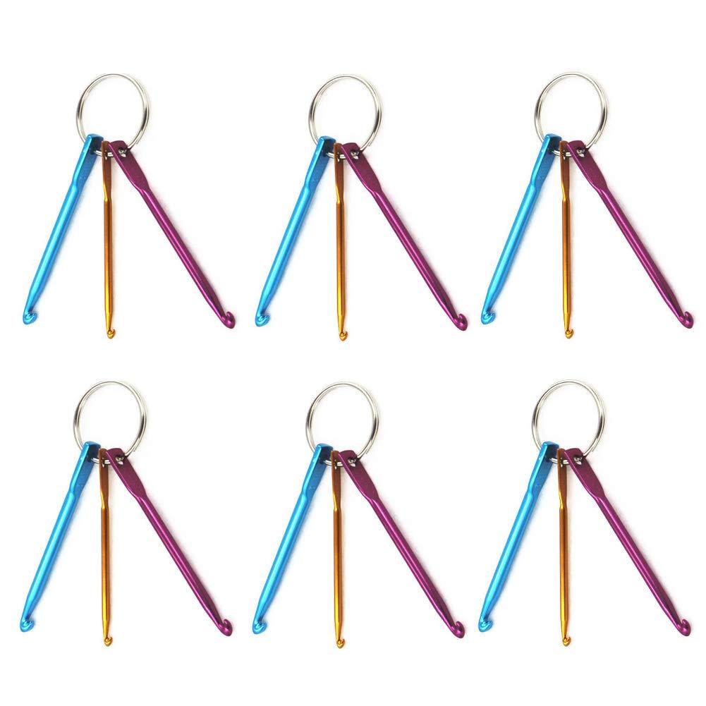 mini portachiavi set miglior regalo per le donne ragazze 6 set mini portachiavi in alluminio uncinetti ferri da maglia 3 dimensioni // set artigianali per bracciali e collane 3 mm, 4 mm, 5 mm