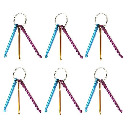 6 juegos Mini llavero Ganchos de ganchillo de aluminio ...