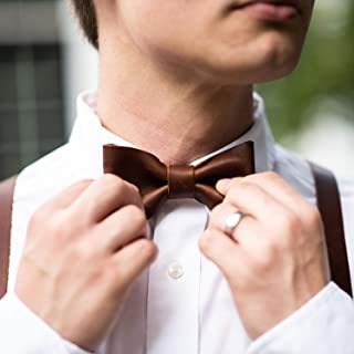 product image for The Mr. Baker Fine Leather Bow Tie Bowtie in Brown - Small