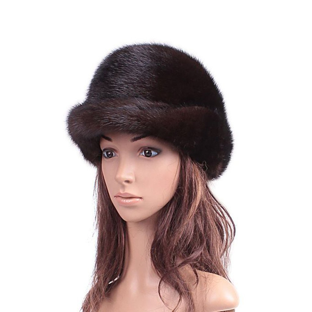 UK.GREIFF Women's Fashion Warm Stretch Mink Fur Fedoras Cap Winter Hat Black by UK.GREIFF