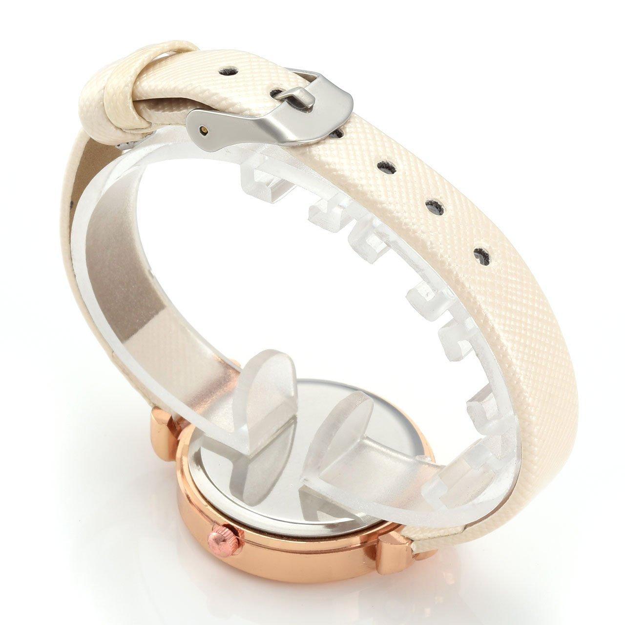 Top Plaza Women Fashion Watches Leather Band Luxury Analog Quartz Watches Girls Ladies Wristwatch - White by Top Plaza (Image #6)