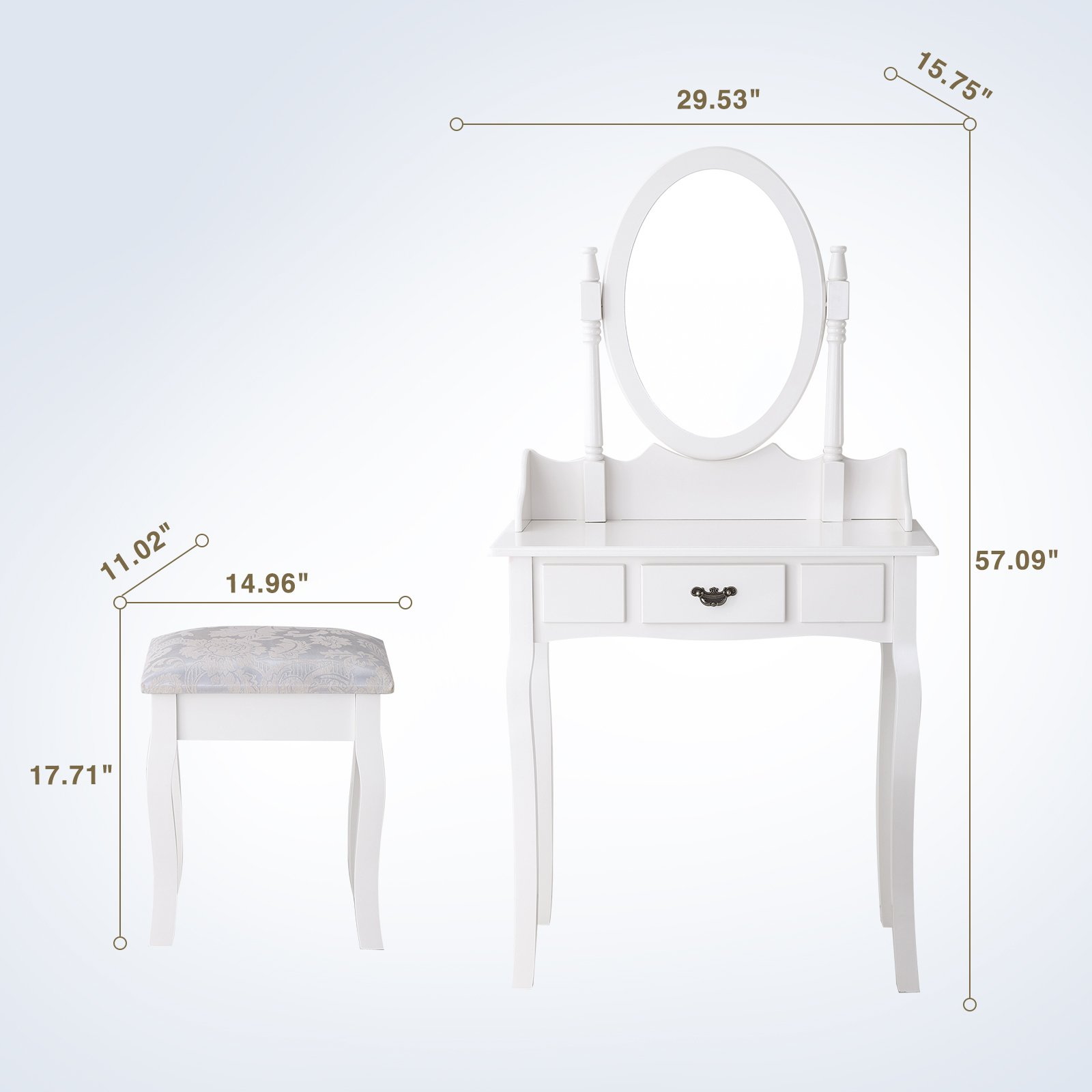 Mecor Vanity Makeup Table Set Dressing Table with Stool and Oval Mirror,White by Mecor (Image #7)