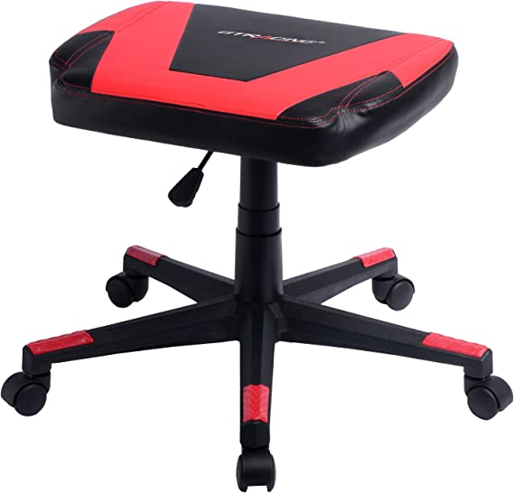 GTRACING Gaming Ottoman Footstool Chair Height Adjustable Footrest Spare Seat PU Leather (Red)