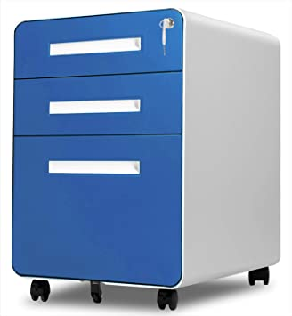Amazon Com 3 Drawer Rolling File Cabinet With Lock Pataku Metal Vertical File Cabinet On Wheels Mobile File Cabinet Under Desk Fits Legal Letter A4 Size For Home Office Fully Assembled Blue Office Products