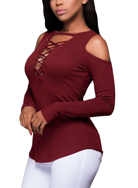 Twippo Camiseta de Mujer con Cruceta y Manga Larga