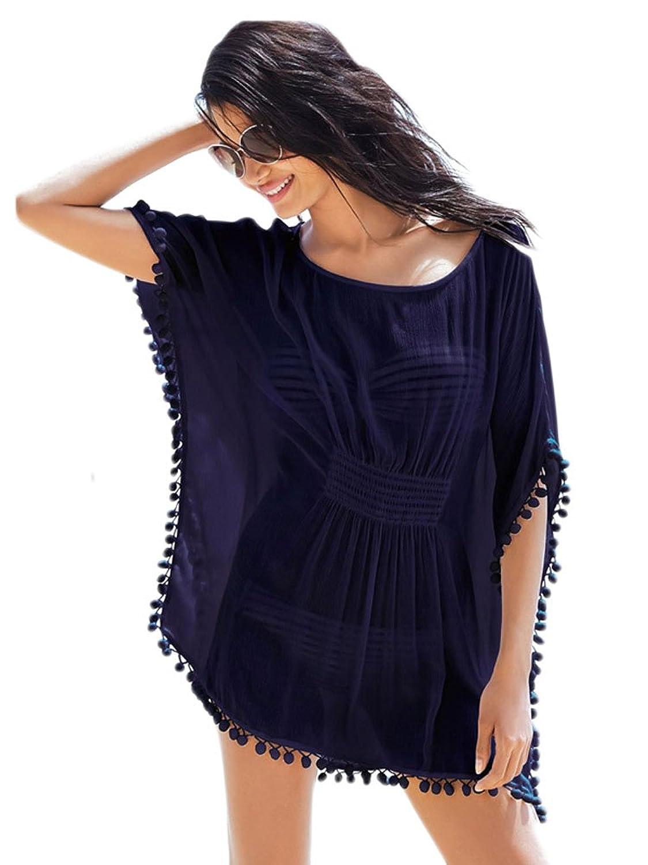 NICE BUY Damen Cinched Taille Chiffon Kaftan mit Fransen Lose Beachwear Hemdkleid